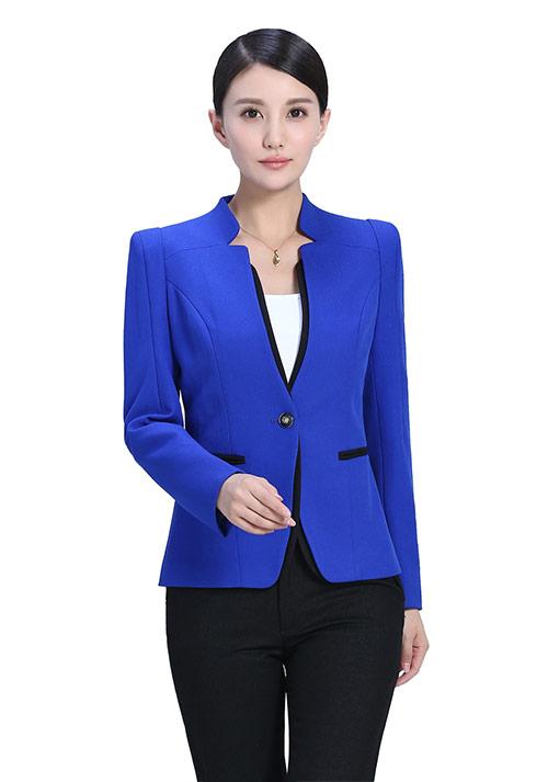 蓝色立领职业装