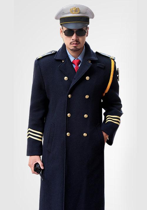保安藏蓝大衣