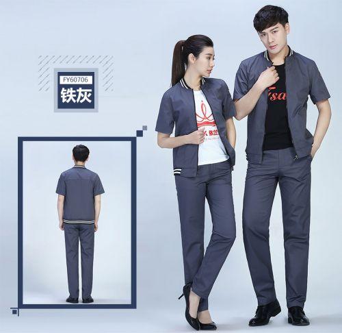 灰色商务夏季涤棉细斜短袖工作服FY607