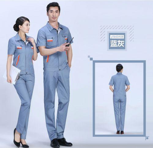 时尚彩色夏季灰色细斜短袖工作服FY604