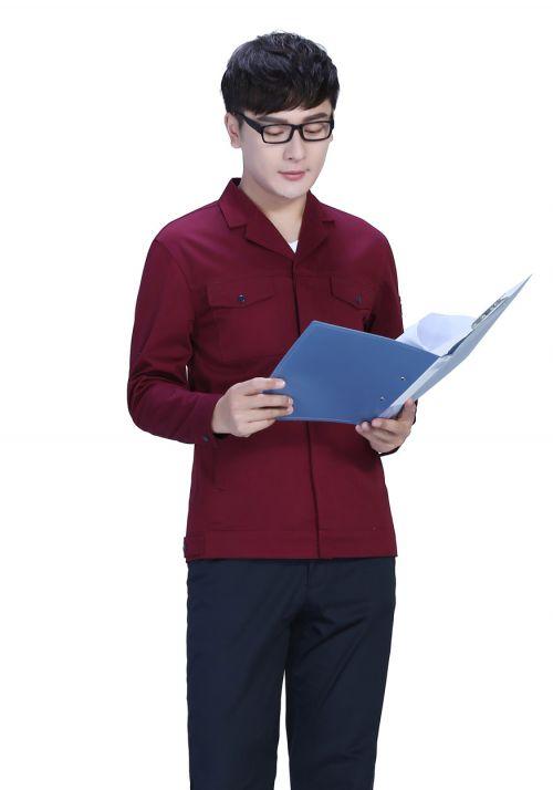 新款棕灰+深裤春秋工作服FY8001